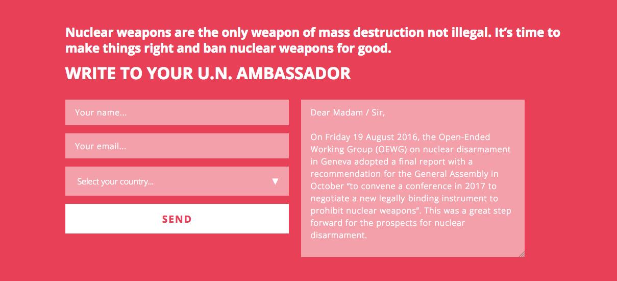 Unterzeichnen Sie ICAN's Aufruf an den Schweizer UNO-Botschafter