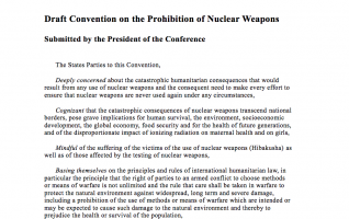 Screen Shot of first page of draft convention on the prohibition of nuclear weapons (22 May 2017)
